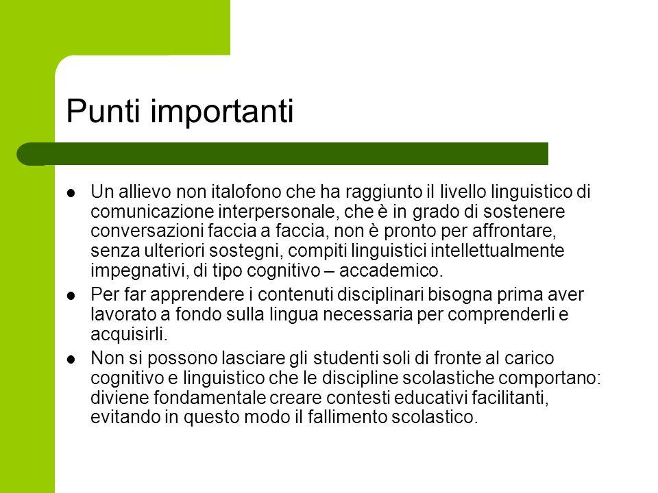 Punti importanti Un allievo non italofono che ha raggiunto il livello linguistico di comunicazione interpersonale, che è in grado di sostenere convers