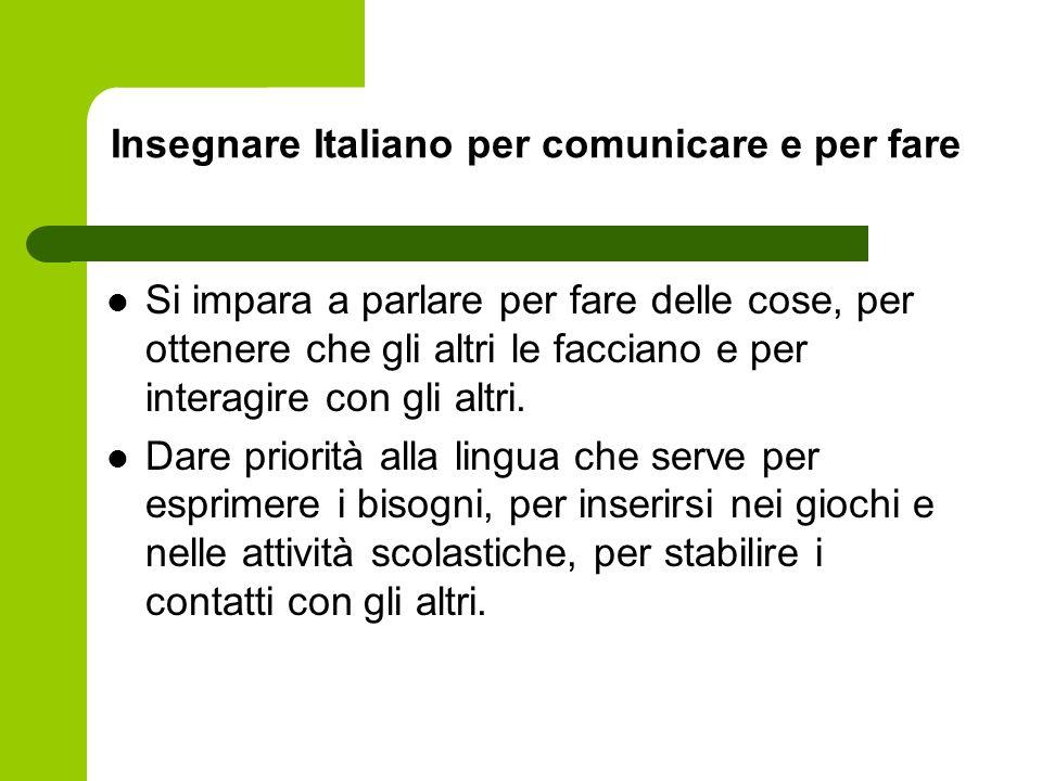 Insegnare Italiano per comunicare e per fare Si impara a parlare per fare delle cose, per ottenere che gli altri le facciano e per interagire con gli