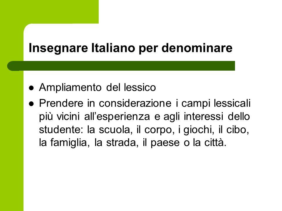 Insegnare Italiano per denominare Ampliamento del lessico Prendere in considerazione i campi lessicali più vicini allesperienza e agli interessi dello