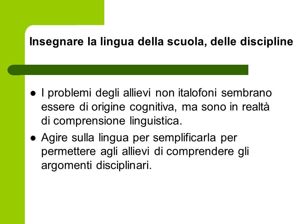 Insegnare la lingua della scuola, delle discipline I problemi degli allievi non italofoni sembrano essere di origine cognitiva, ma sono in realtà di c