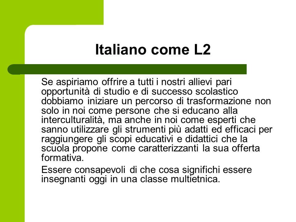 Italiano come L2 Se aspiriamo offrire a tutti i nostri allievi pari opportunità di studio e di successo scolastico dobbiamo iniziare un percorso di tr