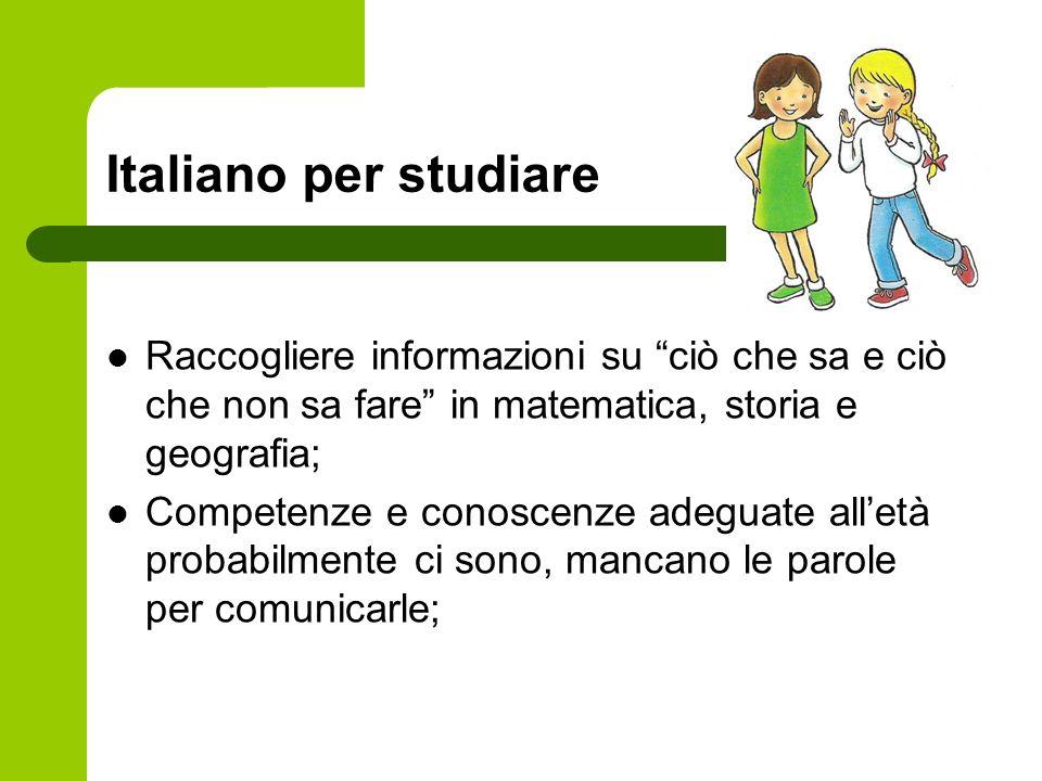 Italiano per studiare Raccogliere informazioni su ciò che sa e ciò che non sa fare in matematica, storia e geografia; Competenze e conoscenze adeguate