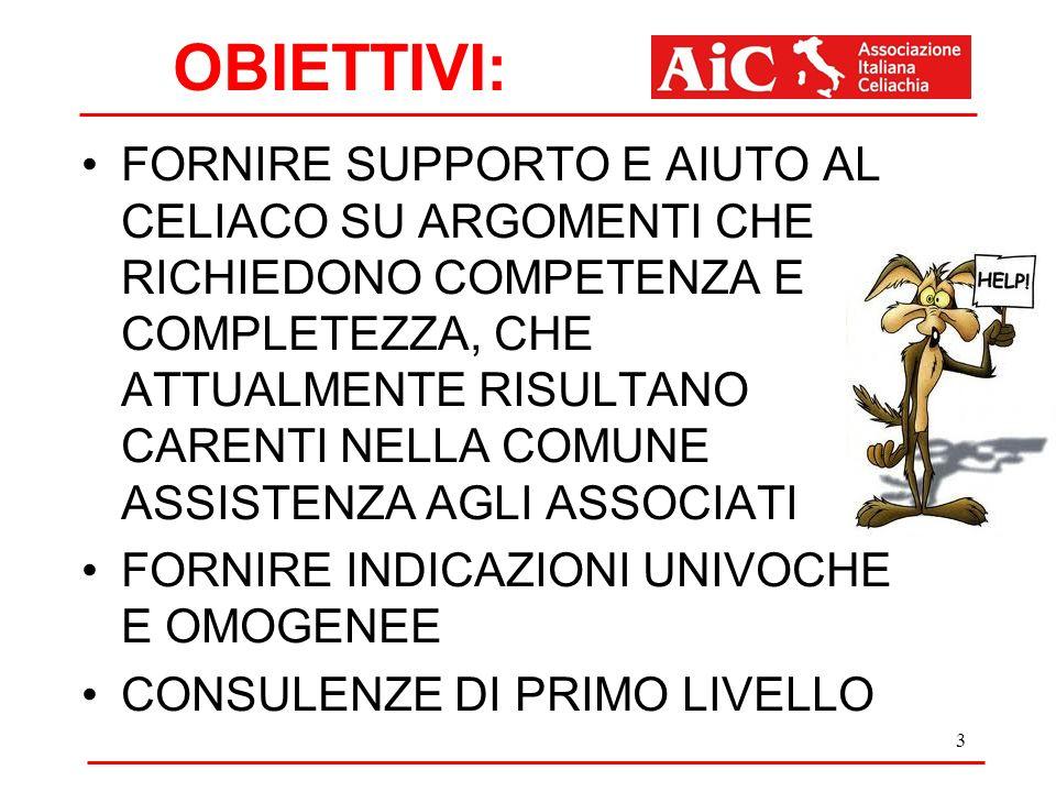 OBIETTIVI: FORNIRE SUPPORTO E AIUTO AL CELIACO SU ARGOMENTI CHE RICHIEDONO COMPETENZA E COMPLETEZZA, CHE ATTUALMENTE RISULTANO CARENTI NELLA COMUNE ASSISTENZA AGLI ASSOCIATI FORNIRE INDICAZIONI UNIVOCHE E OMOGENEE CONSULENZE DI PRIMO LIVELLO 3