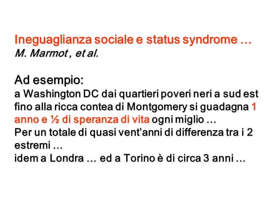 Ineguaglianza sociale e status syndrome … M. Marmot, et al. Ad esempio: a Washington DC dai quartieri poveri neri a sud est fino alla ricca contea di