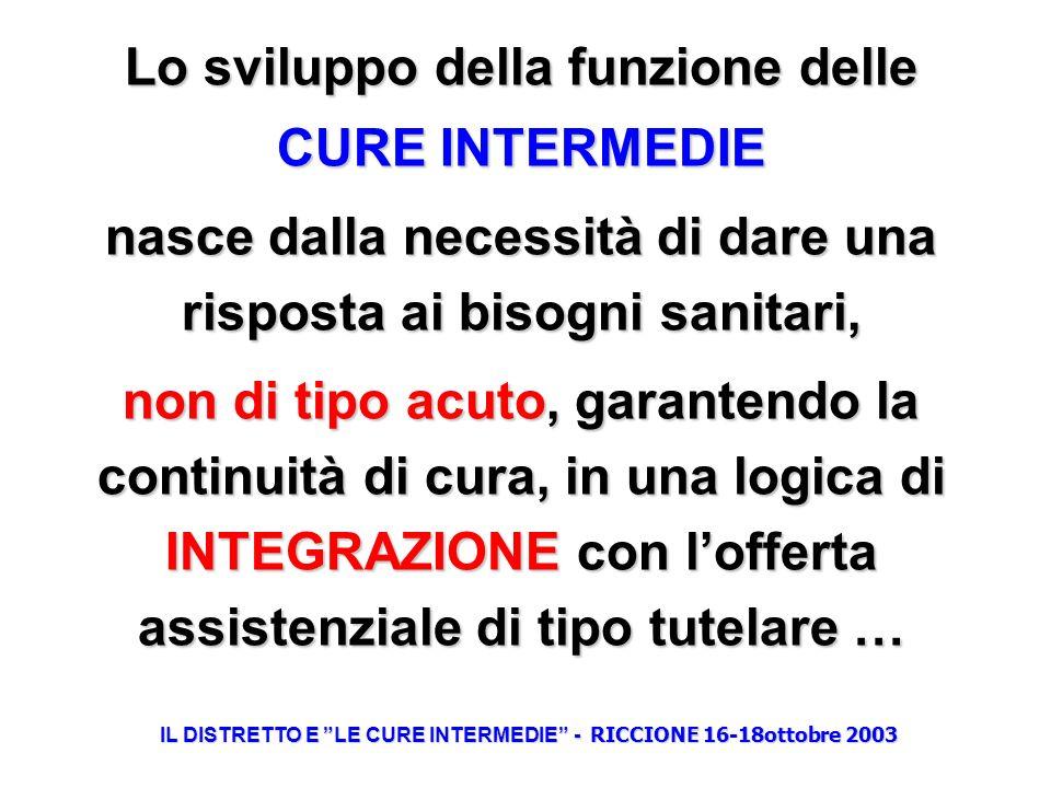 Lo sviluppo della funzione delle CURE INTERMEDIE nasce dalla necessità di dare una risposta ai bisogni sanitari, non di tipo acuto, garantendo la cont
