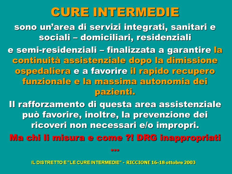 CURE INTERMEDIE sono unarea di servizi integrati, sanitari e sociali – domiciliari, residenziali e semi-residenziali – finalizzata a garantire la cont