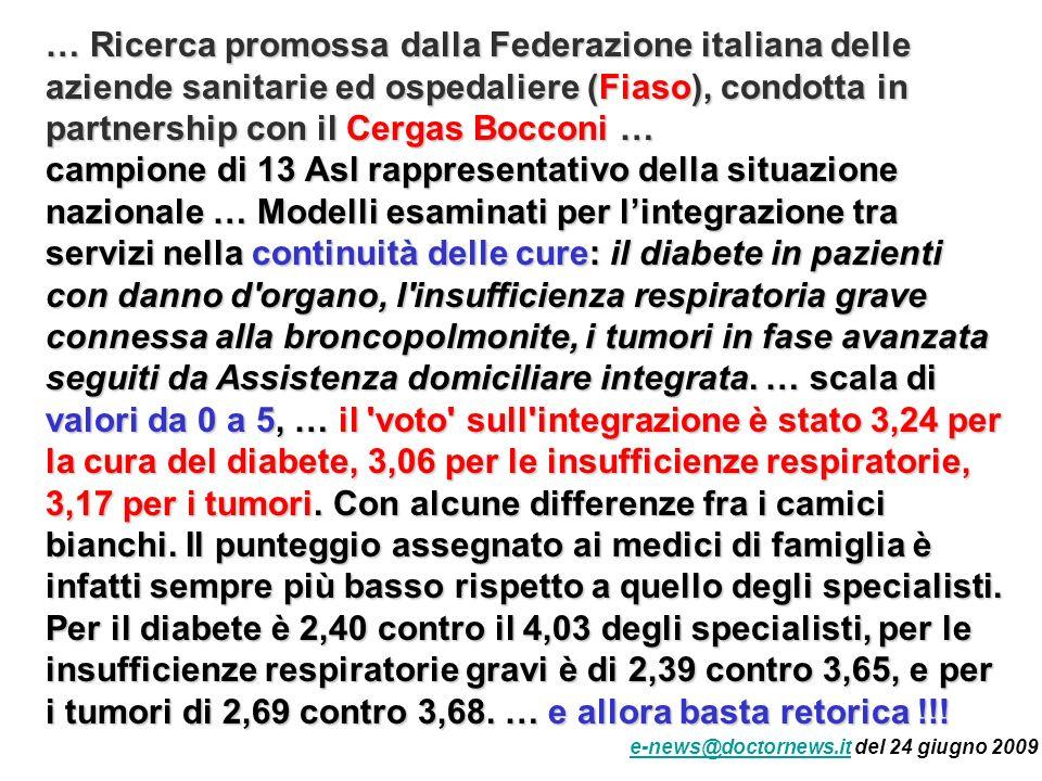 … Ricerca promossa dalla Federazione italiana delle aziende sanitarie ed ospedaliere (Fiaso), condotta in partnership con il Cergas Bocconi … campione