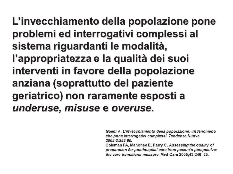 Linvecchiamento della popolazione pone problemi ed interrogativi complessi al sistema riguardanti le modalità, lappropriatezza e la qualità dei suoi i