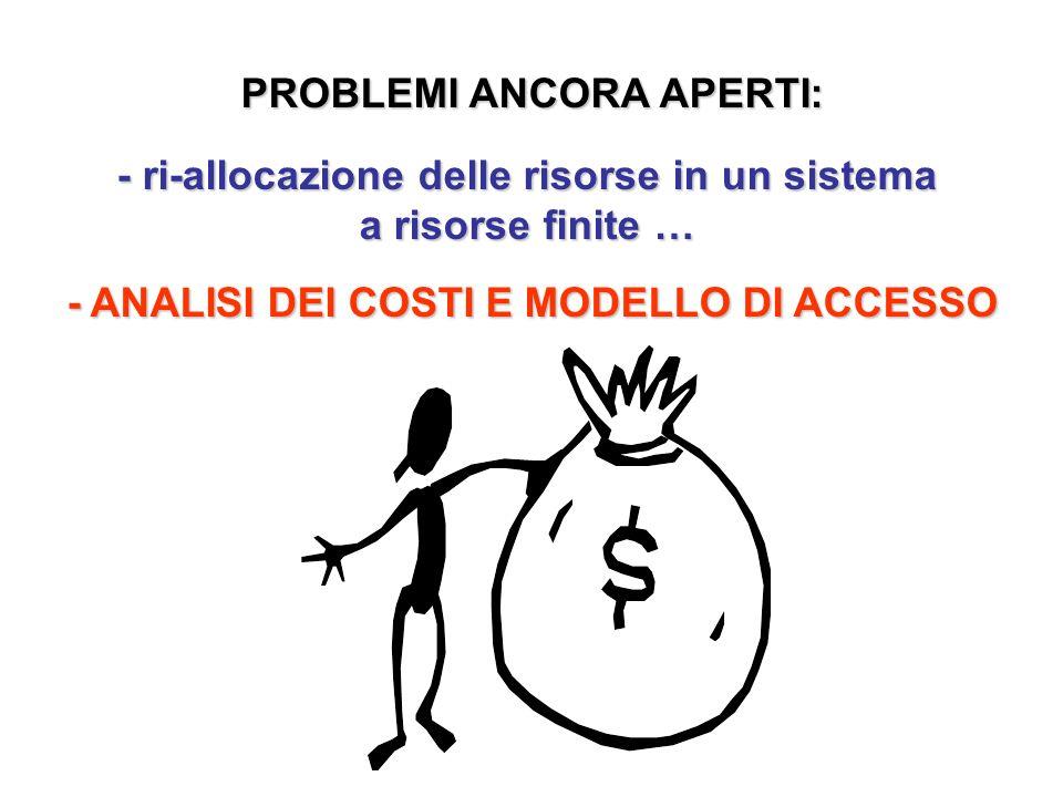 PROBLEMI ANCORA APERTI: - ri-allocazione delle risorse in un sistema a risorse finite … - ANALISI DEI COSTI E MODELLO DI ACCESSO