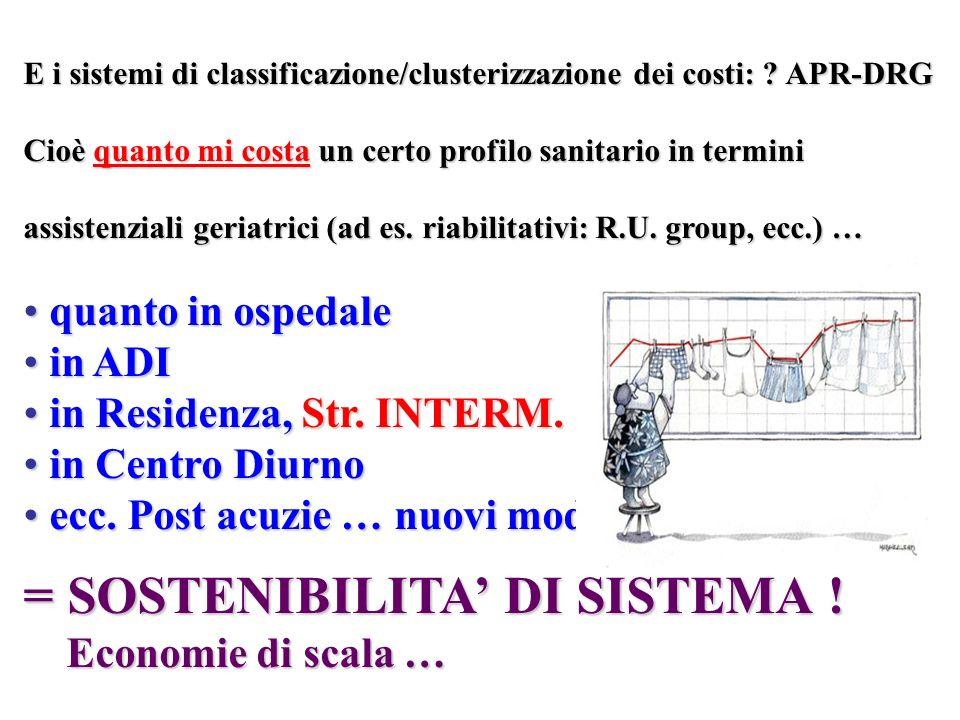 E i sistemi di classificazione/clusterizzazione dei costi: ? APR-DRG Cioè quanto mi costa un certo profilo sanitario in termini assistenziali geriatri