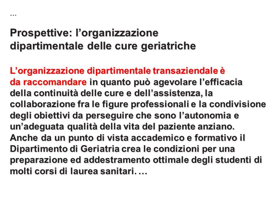 … Prospettive: lorganizzazione dipartimentale delle cure geriatriche Lorganizzazione dipartimentale transaziendale è da raccomandare in quanto può age