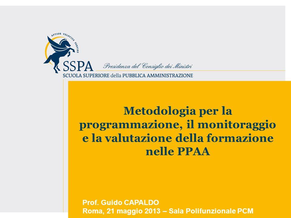 Metodologia per la programmazione, il monitoraggio e la valutazione della formazione nelle PPAA Prof. Guido CAPALDO Roma, 21 maggio 2013 – Sala Polifu