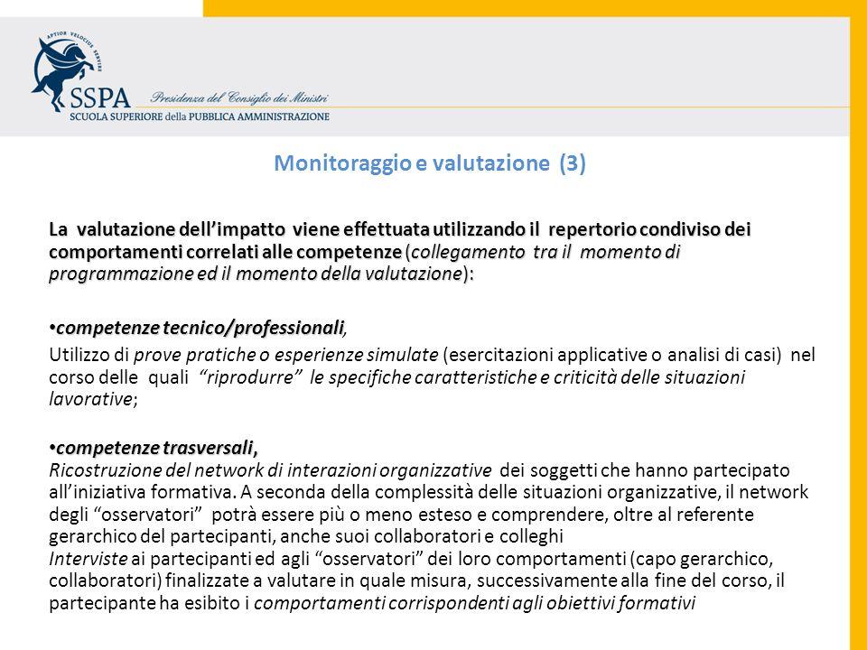Monitoraggio e valutazione (3) La valutazione dellimpatto viene effettuata utilizzando il repertorio condiviso dei comportamenti correlati alle compet