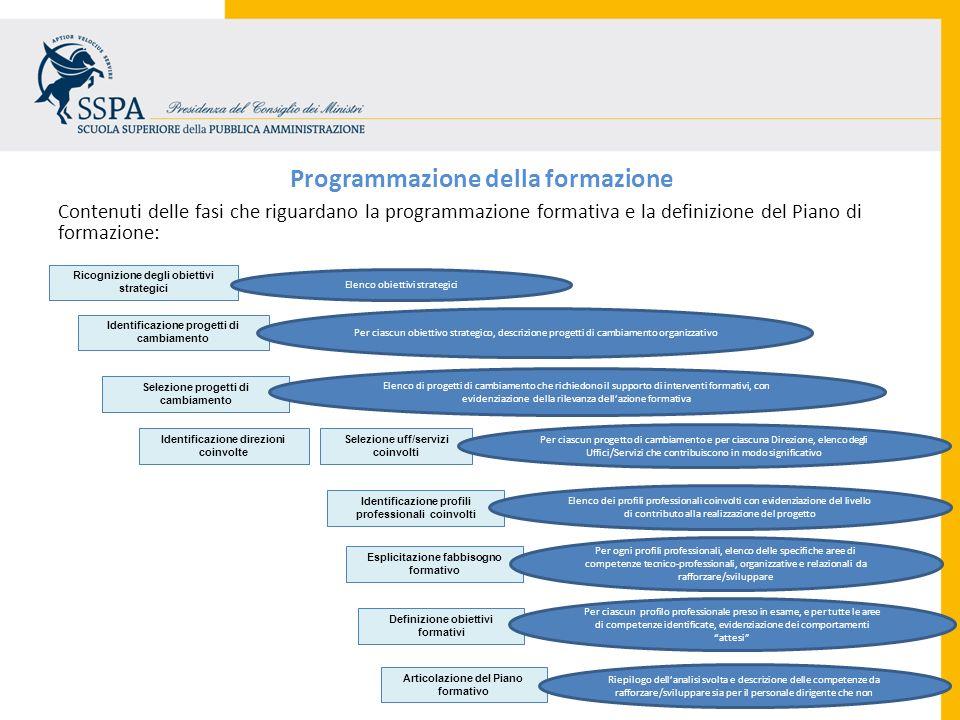 Programmazione della formazione Contenuti delle fasi che riguardano la programmazione formativa e la definizione del Piano di formazione: Ricognizione