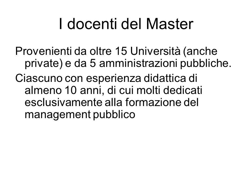 I docenti del Master Provenienti da oltre 15 Università (anche private) e da 5 amministrazioni pubbliche.