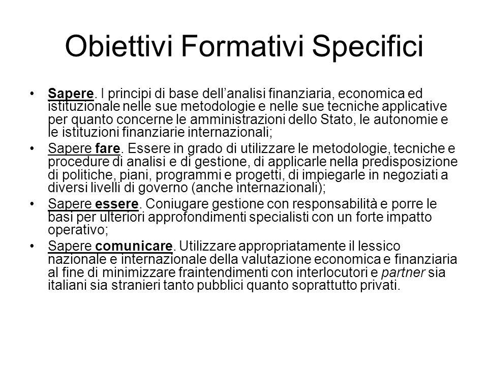 Obiettivi Formativi Specifici Sapere.