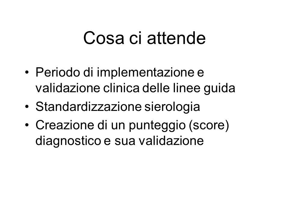 Cosa ci attende Periodo di implementazione e validazione clinica delle linee guida Standardizzazione sierologia Creazione di un punteggio (score) diagnostico e sua validazione