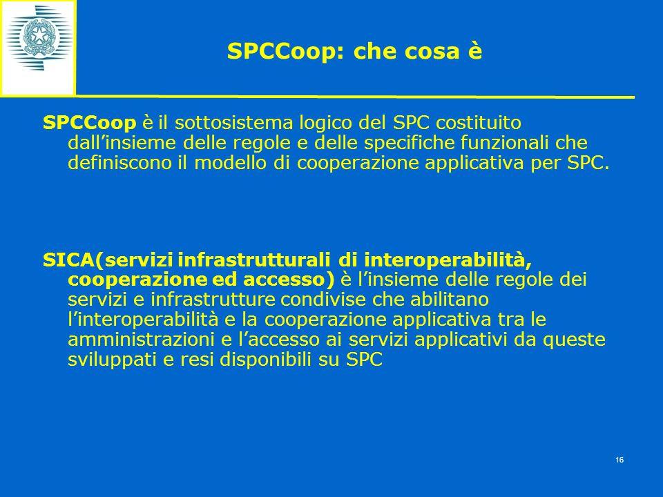 SPCCoop: che cosa è SPCCoop è il sottosistema logico del SPC costituito dallinsieme delle regole e delle specifiche funzionali che definiscono il mode