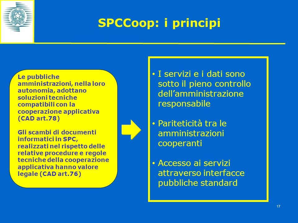 SPCCoop: i principi I servizi e i dati sono sotto il pieno controllo dellamministrazione responsabile Pariteticità tra le amministrazioni cooperanti A