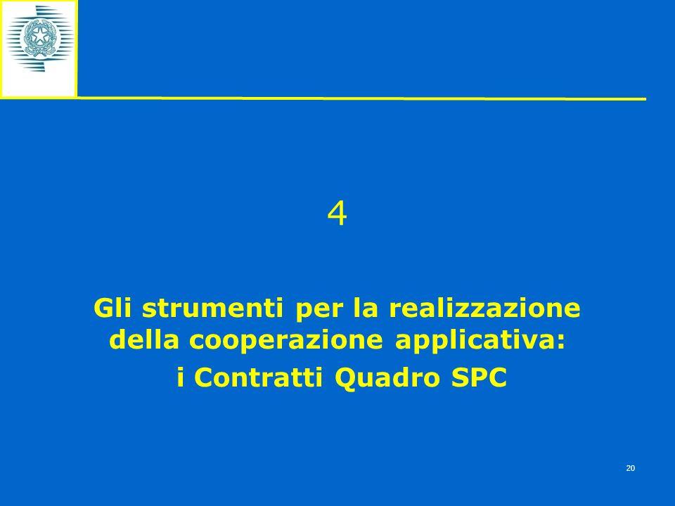 4 Gli strumenti per la realizzazione della cooperazione applicativa: i Contratti Quadro SPC 20