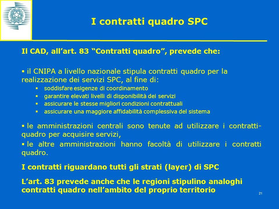 I contratti quadro SPC Il CAD, allart. 83 Contratti quadro, prevede che: il CNIPA a livello nazionale stipula contratti quadro per la realizzazione de