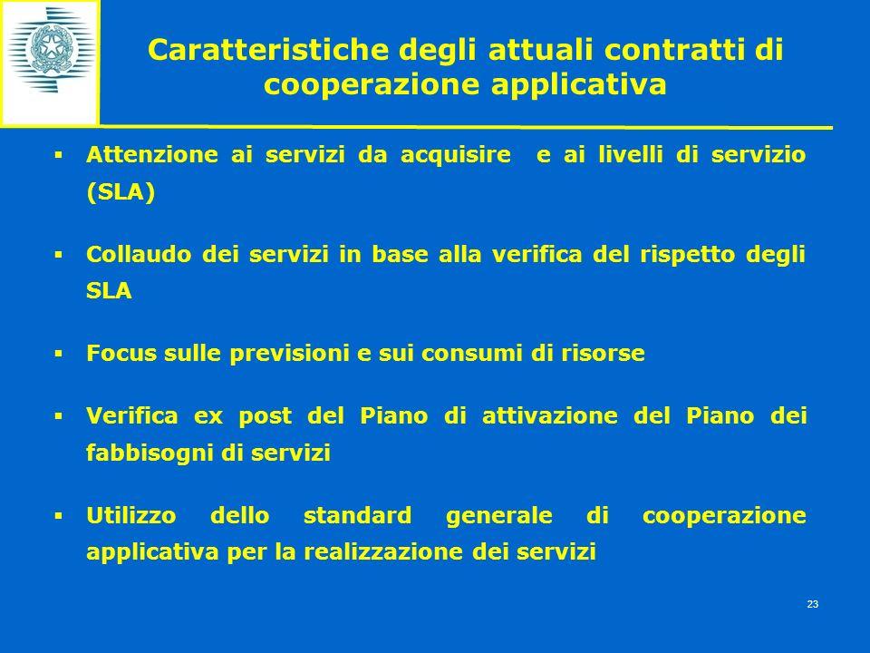 Caratteristiche degli attuali contratti di cooperazione applicativa Attenzione ai servizi da acquisire e ai livelli di servizio (SLA) Collaudo dei ser