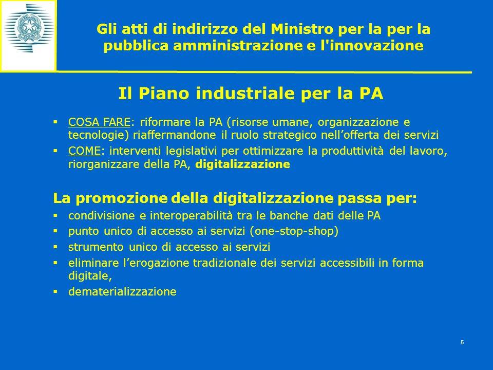 Gli atti di indirizzo del Ministro per la per la pubblica amministrazione e l'innovazione 5 Il Piano industriale per la PA COSA FARE: riformare la PA