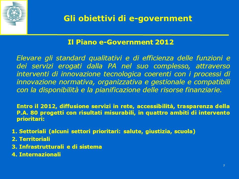 Gli obiettivi di e-government 7 Il Piano e-Government 2012 Elevare gli standard qualitativi e di efficienza delle funzioni e dei servizi erogati dalla