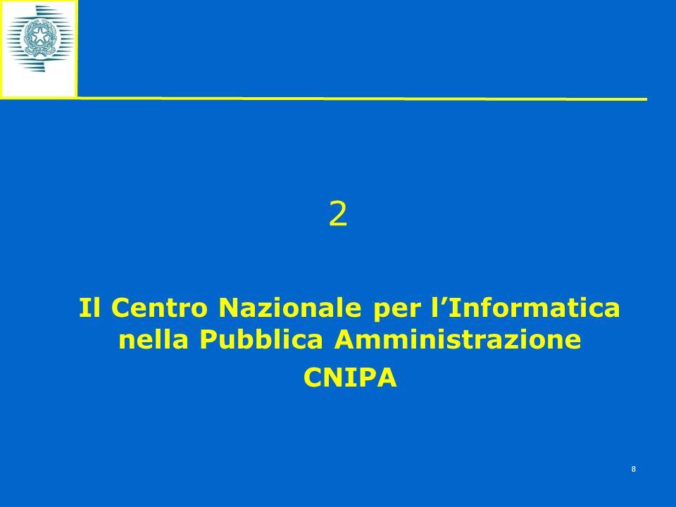 2 Il Centro Nazionale per lInformatica nella Pubblica Amministrazione CNIPA 8