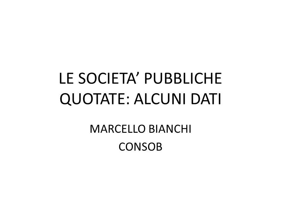 LE SOCIETA PUBBLICHE QUOTATE: ALCUNI DATI MARCELLO BIANCHI CONSOB