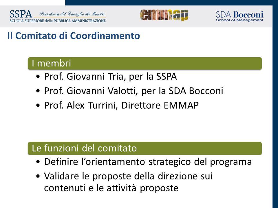 I membri Prof. Giovanni Tria, per la SSPA Prof. Giovanni Valotti, per la SDA Bocconi Prof. Alex Turrini, Direttore EMMAP Le funzioni del comitato Defi