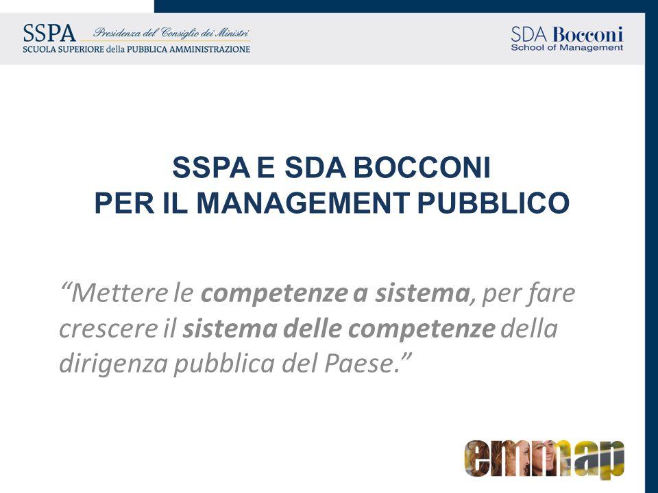 SSPA E SDA BOCCONI PER IL MANAGEMENT PUBBLICO Mettere le competenze a sistema, per fare crescere il sistema delle competenze della dirigenza pubblica