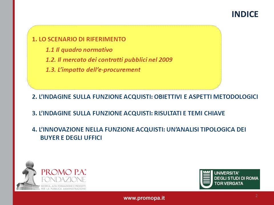 INDICE 1. LO SCENARIO DI RIFERIMENTO 1.1 Il quadro normativo 1.2. Il mercato dei contratti pubblici nel 2009 1.3. Limpatto delle-procurement 2. LINDAG