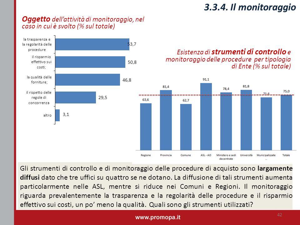 Esistenza di strumenti di controllo e monitoraggio delle procedure per tipologia di Ente (% sul totale) 3.3.4. Il monitoraggio 42 Gli strumenti di con