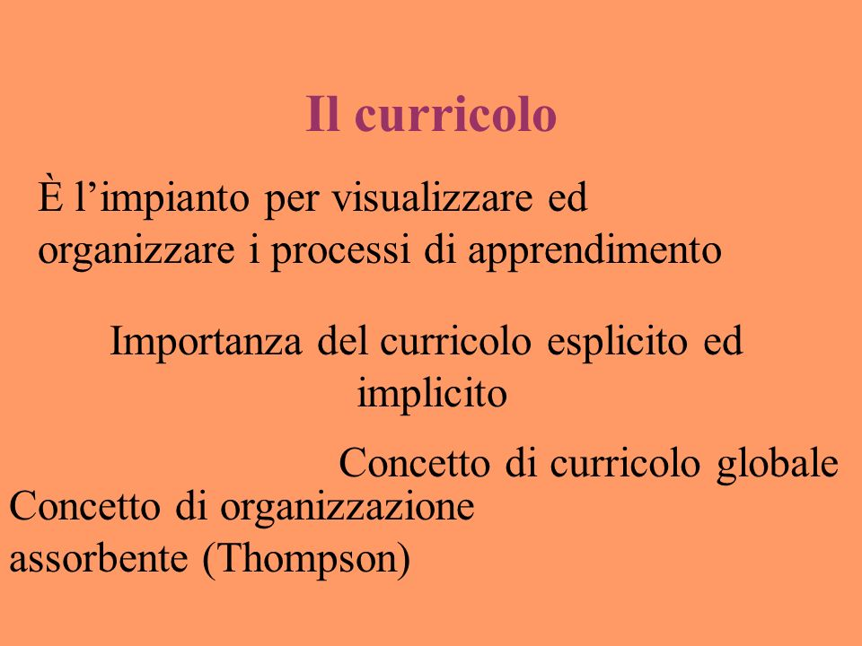 Il curricolo È limpianto per visualizzare ed organizzare i processi di apprendimento Importanza del curricolo esplicito ed implicito Concetto di curricolo globale Concetto di organizzazione assorbente (Thompson)