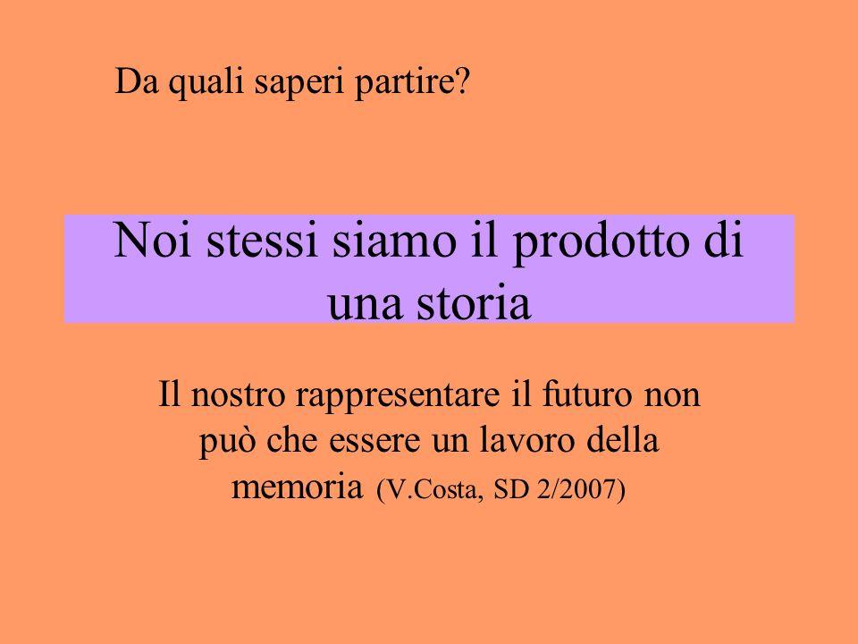 Noi stessi siamo il prodotto di una storia Il nostro rappresentare il futuro non può che essere un lavoro della memoria (V.Costa, SD 2/2007) Da quali