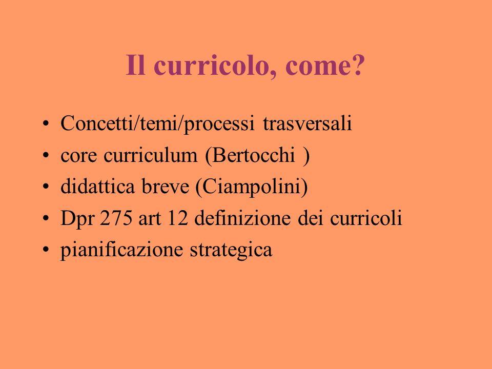 Il curricolo, come? Concetti/temi/processi trasversali core curriculum (Bertocchi ) didattica breve (Ciampolini) Dpr 275 art 12 definizione dei curric