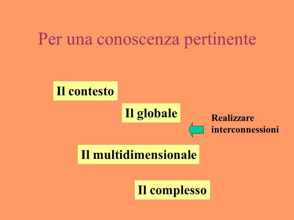 Per una conoscenza pertinente Il contesto Il globale Il multidimensionale Il complesso Realizzare interconnessioni