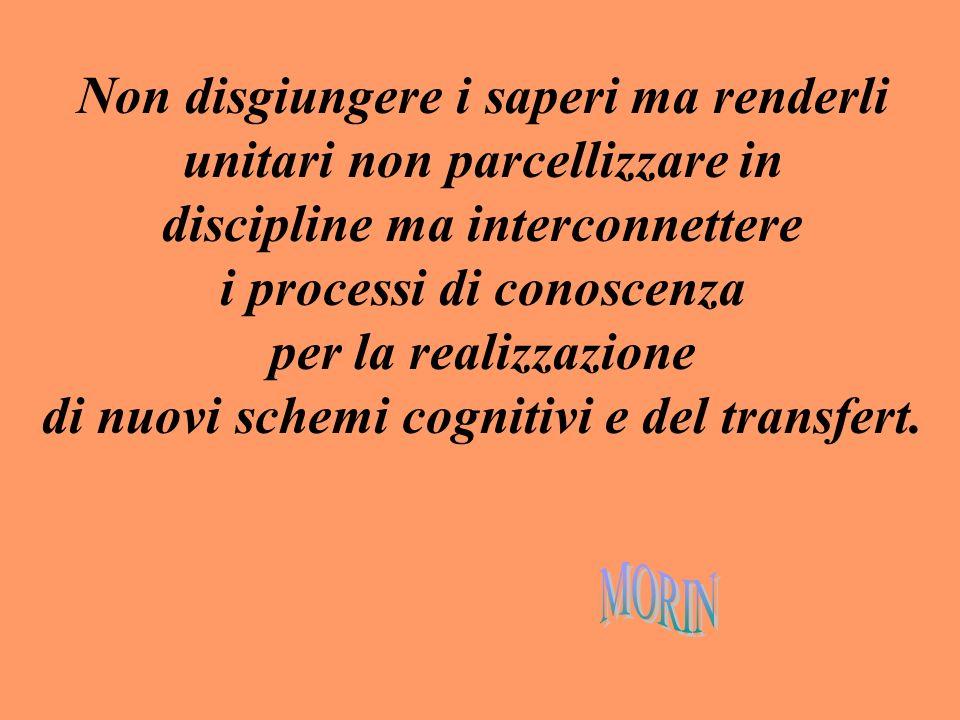 Non disgiungere i saperi ma renderli unitari non parcellizzare in discipline ma interconnettere i processi di conoscenza per la realizzazione di nuovi schemi cognitivi e del transfert.