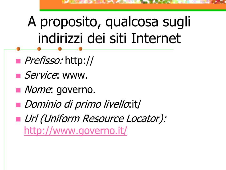 A proposito, qualcosa sugli indirizzi dei siti Internet Prefisso: http:// Service: www.