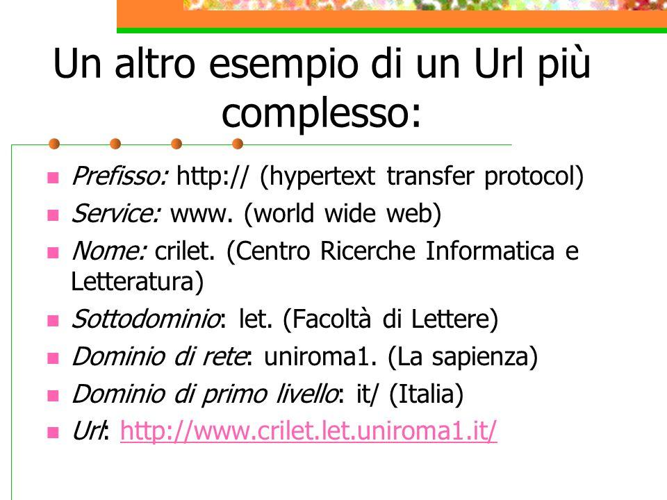 Un altro esempio di un Url più complesso: Prefisso: http:// (hypertext transfer protocol) Service: www.
