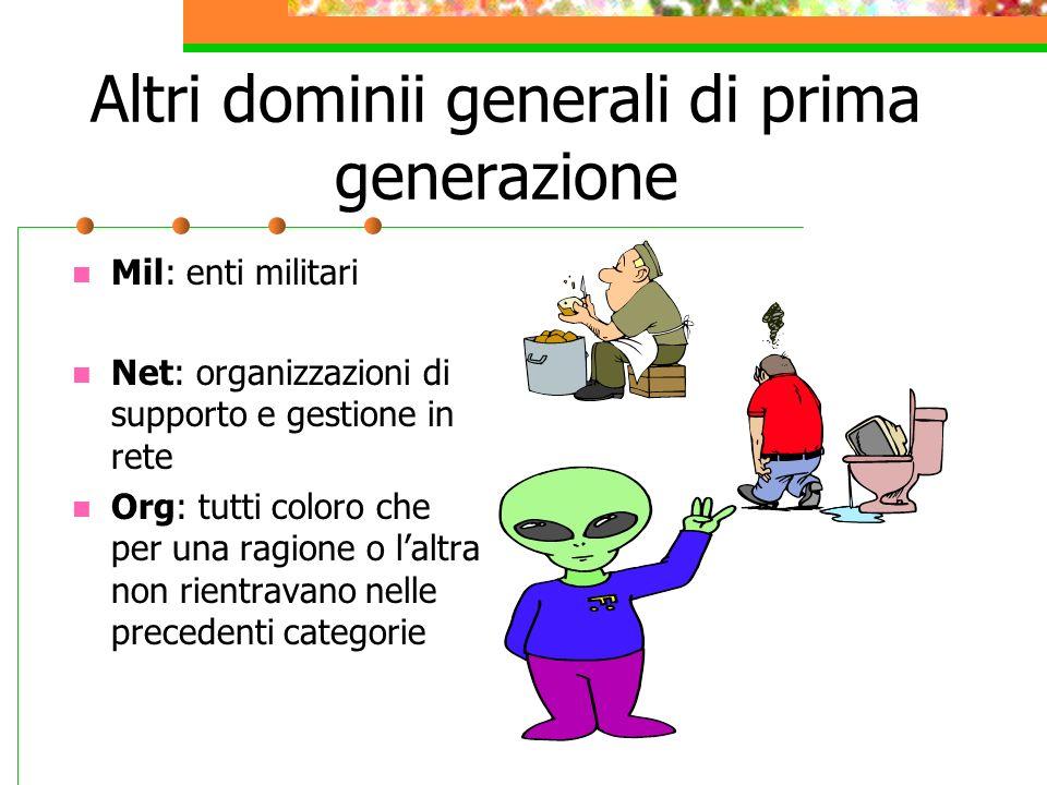 Altri dominii generali di prima generazione Mil: enti militari Net: organizzazioni di supporto e gestione in rete Org: tutti coloro che per una ragione o laltra non rientravano nelle precedenti categorie