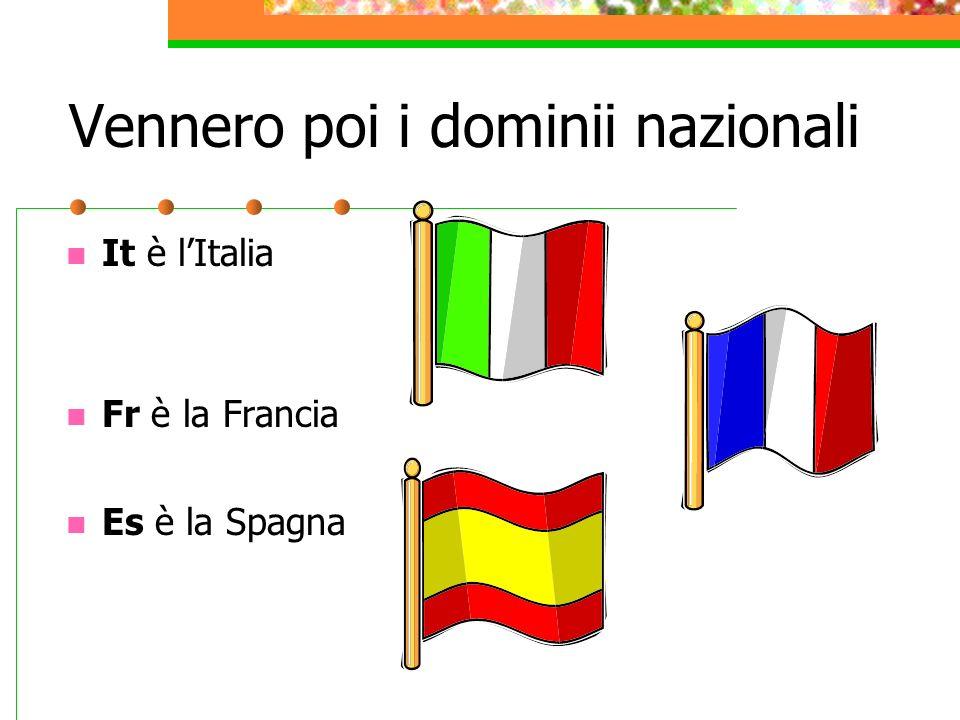 Vennero poi i dominii nazionali It è lItalia Fr è la Francia Es è la Spagna