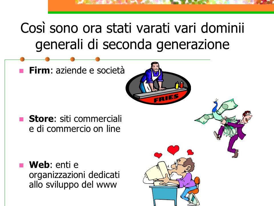 Così sono ora stati varati vari dominii generali di seconda generazione Firm: aziende e società Store: siti commerciali e di commercio on line Web: enti e organizzazioni dedicati allo sviluppo del www