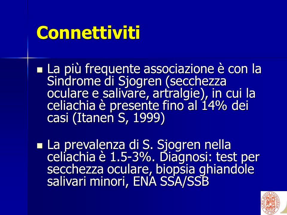 Connettiviti La più frequente associazione è con la Sindrome di Sjogren (secchezza oculare e salivare, artralgie), in cui la celiachia è presente fino