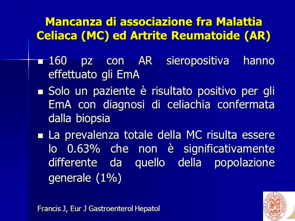 Mancanza di associazione fra Malattia Celiaca (MC) ed Artrite Reumatoide (AR) 160 pz con AR sieropositiva hanno effettuato gli EmA 160 pz con AR siero