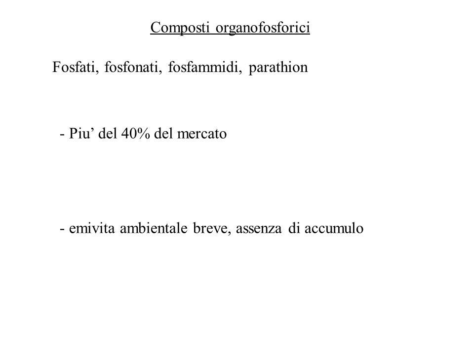 Composti organofosforici Fosfati, fosfonati, fosfammidi, parathion - Piu del 40% del mercato - emivita ambientale breve, assenza di accumulo