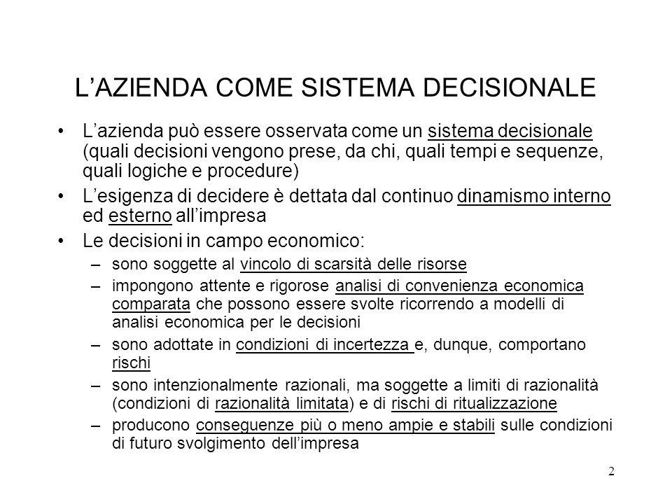 2 LAZIENDA COME SISTEMA DECISIONALE Lazienda può essere osservata come un sistema decisionale (quali decisioni vengono prese, da chi, quali tempi e se