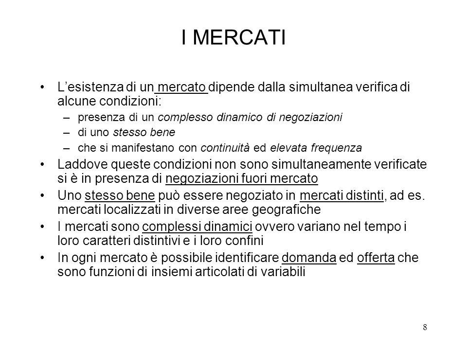 8 I MERCATI Lesistenza di un mercato dipende dalla simultanea verifica di alcune condizioni: –presenza di un complesso dinamico di negoziazioni –di un