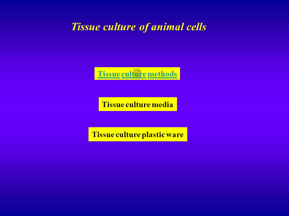 Tissue culture methods Tissue culture of animal cells Tissue culture media Tissue culture plastic ware